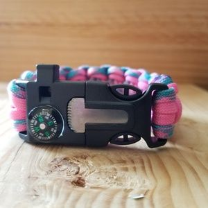 Jewelry - Pink and teal queen cobra paracord survival bracel